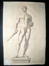 Bloemaert after Vbaldinus 1646 Nude Statue of Hercules. Gay Interest. Ferrrari